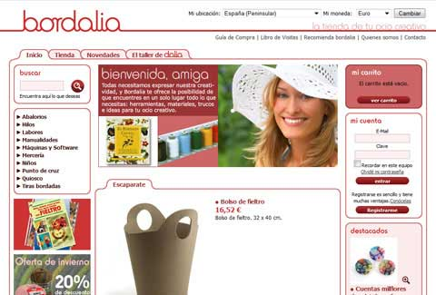 Página de inicio de Bordalia tienda online
