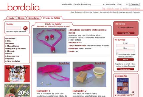 Bordalia online shop craft page