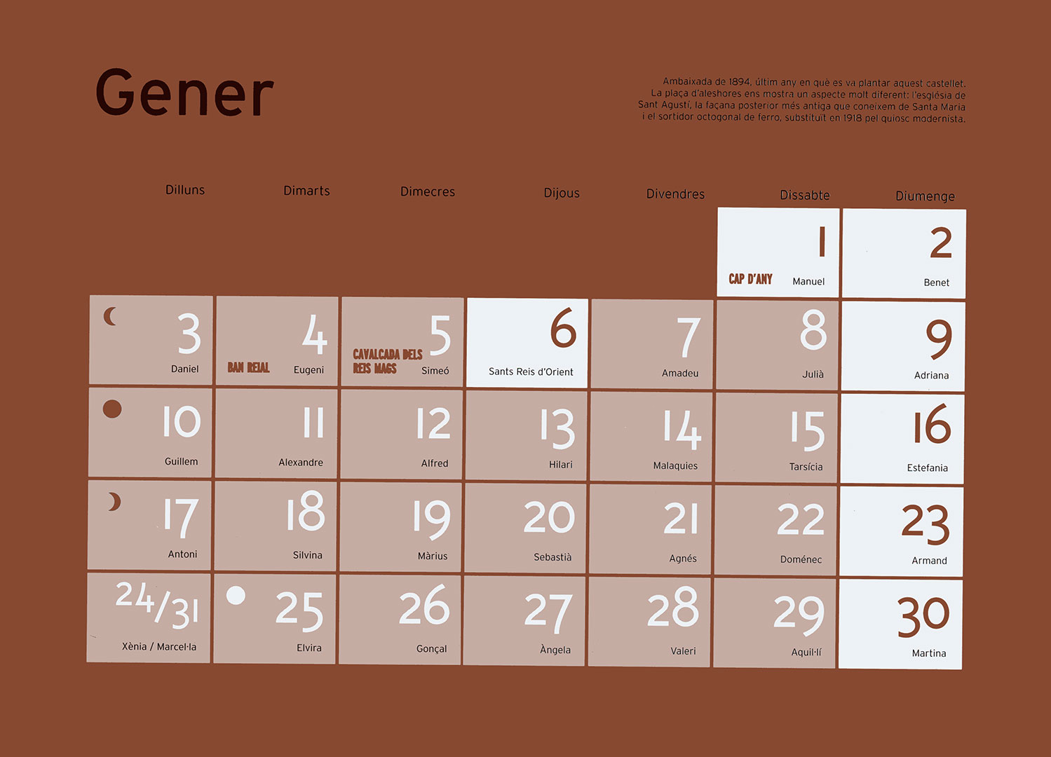 Calendario enero de Tivoli
