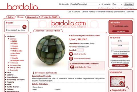 Bordalia online shop product page