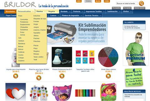 Tienda online Brildor. Página de inicio