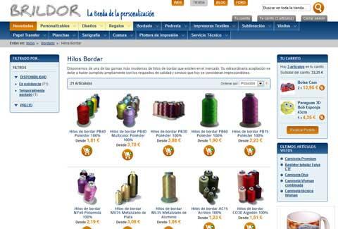 Tienda online Brildor. Página de la categoría