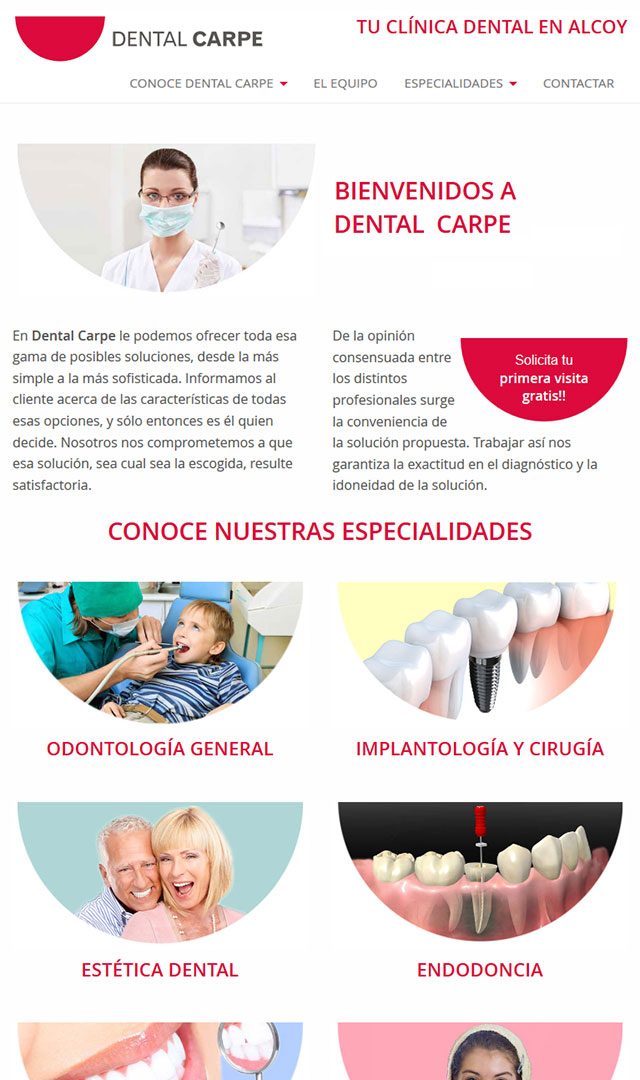 Dental Carpe website on tablet