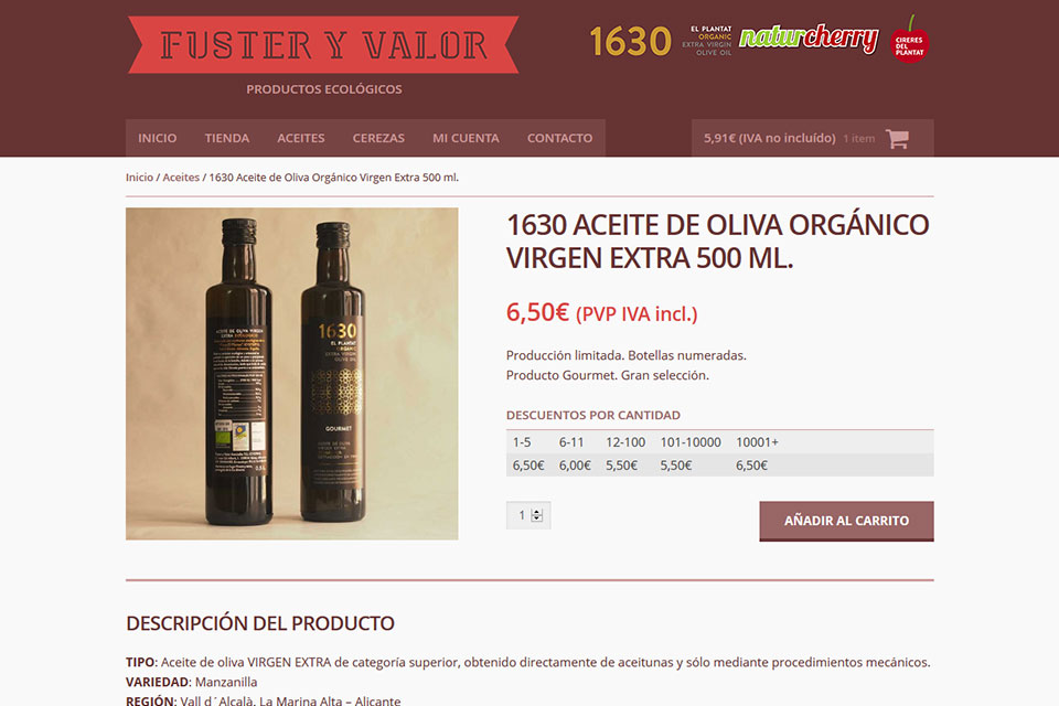 Fuster y Valor online shop product page