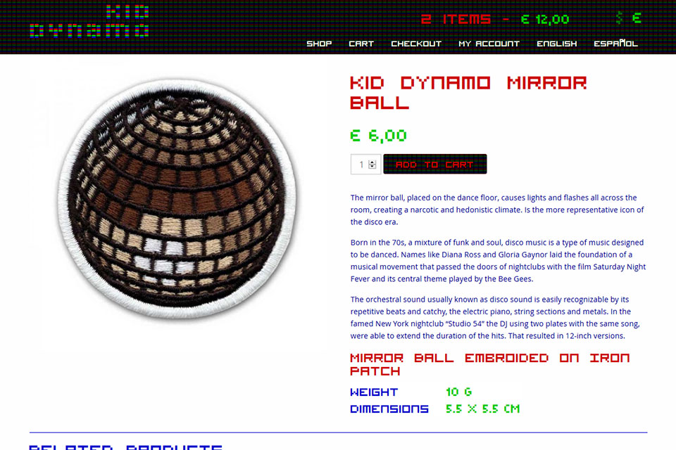 Kid Dynamo online shop product page